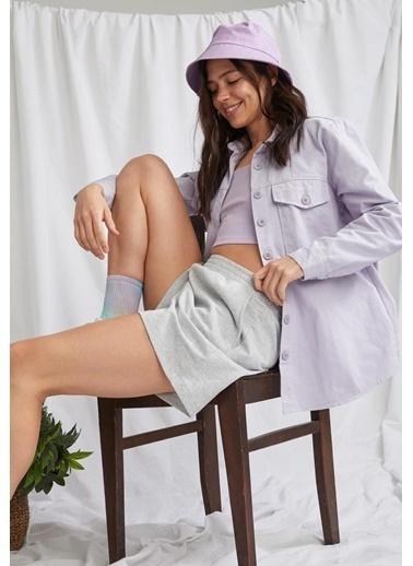 DeFacto Cep Detaylı Relax Fit Gömlek Mor